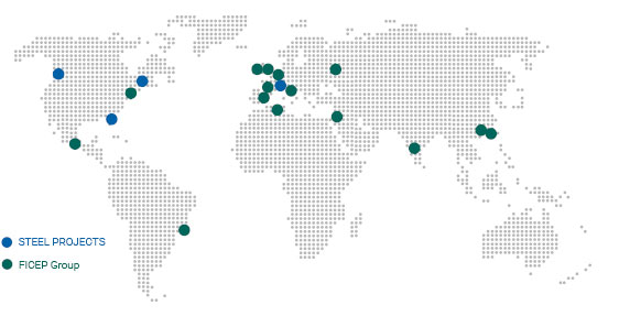 Worldmap of Steel Projects and Ficep factories